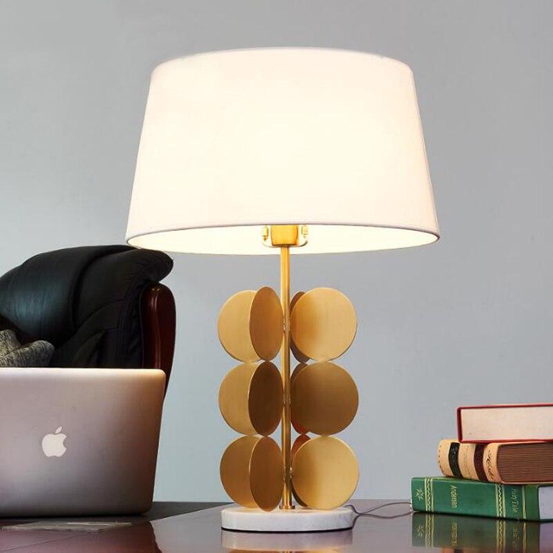 Marble base & metal stent fashion creative desk lamp modern living room / bedroom bedside decorative table