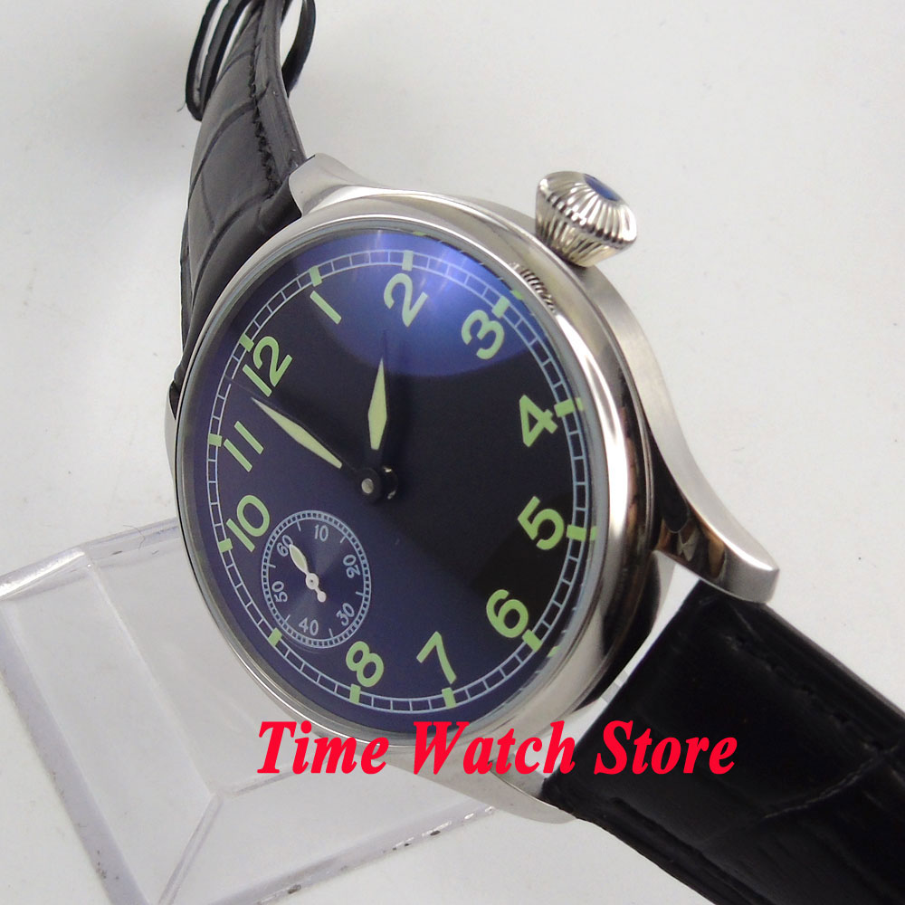Parnis watch 44mm black sterial dial green marks mechanical 6497 hand winding movement Men's watch P5