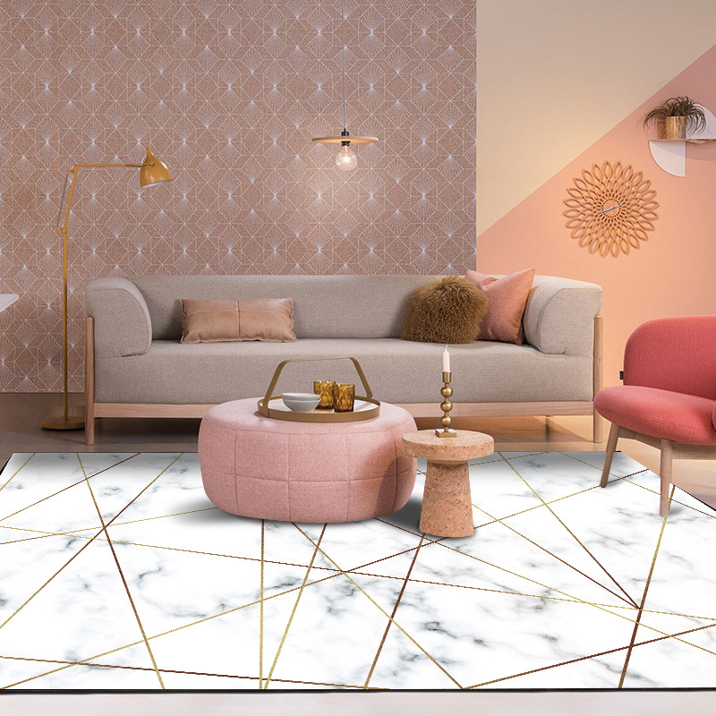 Nordic style geometric marble gold carpet for living room - Gold rug for living room ...
