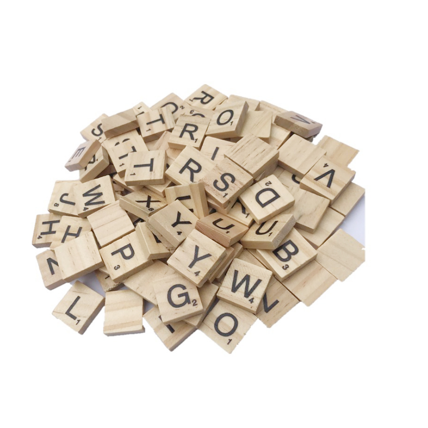 100pcs/lot Cute English Words Wooden Letters Alphabet Puzzle Literacy Box  Numbers Baby Intellectual Development Wooden Crafts