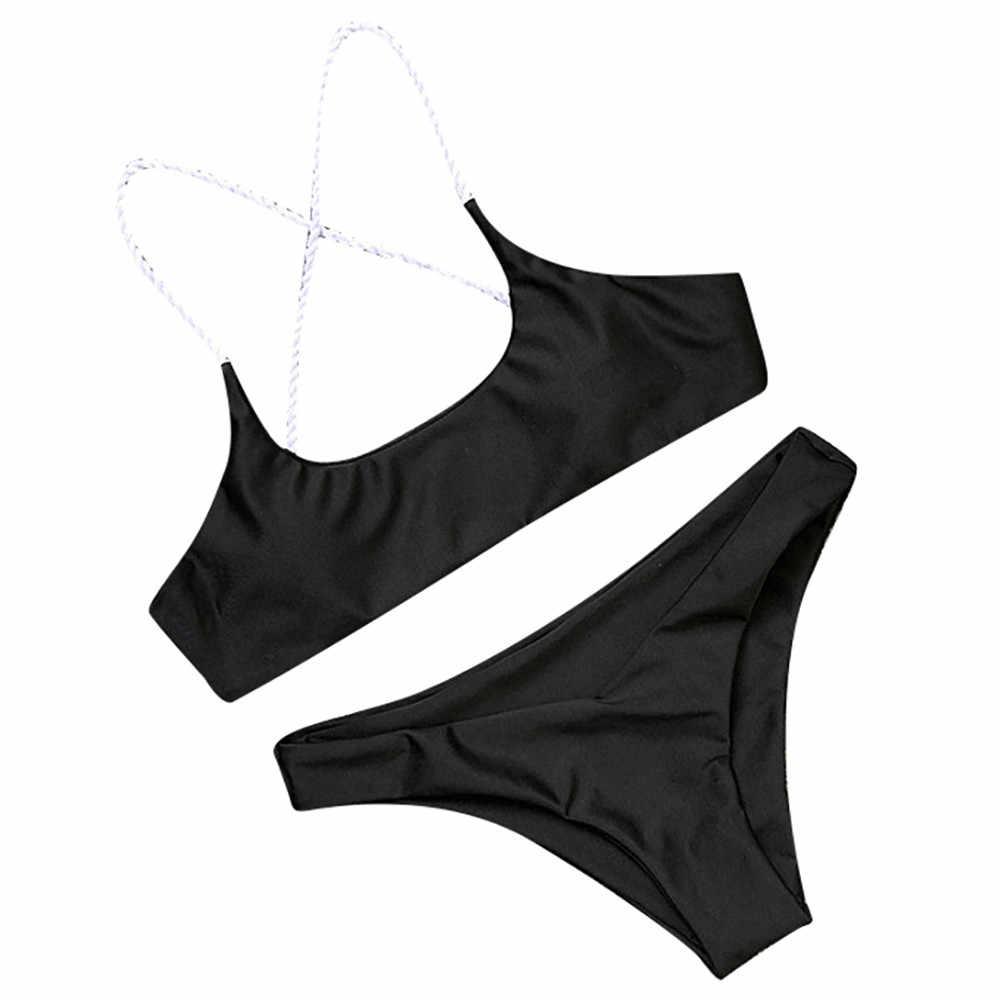 Женский комплект бикини, купальник с пуш-ап подкладкой, однотонная пляжная одежда, бюстгальтер на бретельках, купальник без косточек, модные обычные боди