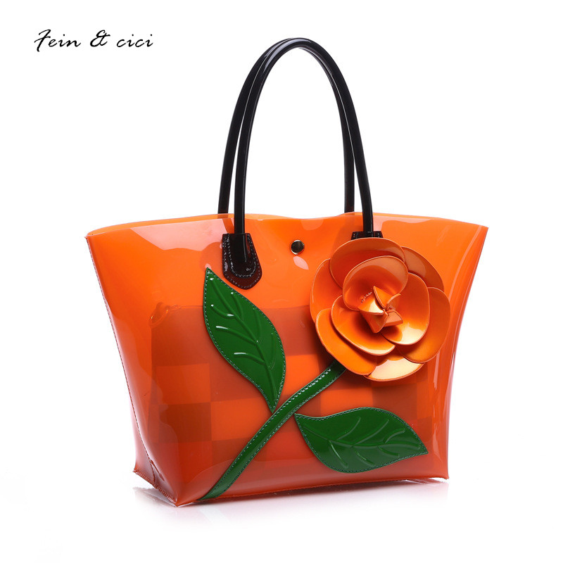 beach bag floral transparent bag clear pvc plastic totes handbag women summer shopping bag 2017 candey color orange yellow blue