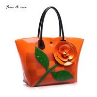 beach bag floral transparent bag clear pvc plastic totes handbag women summer shopping bag 2017 candey color orange yellow blue