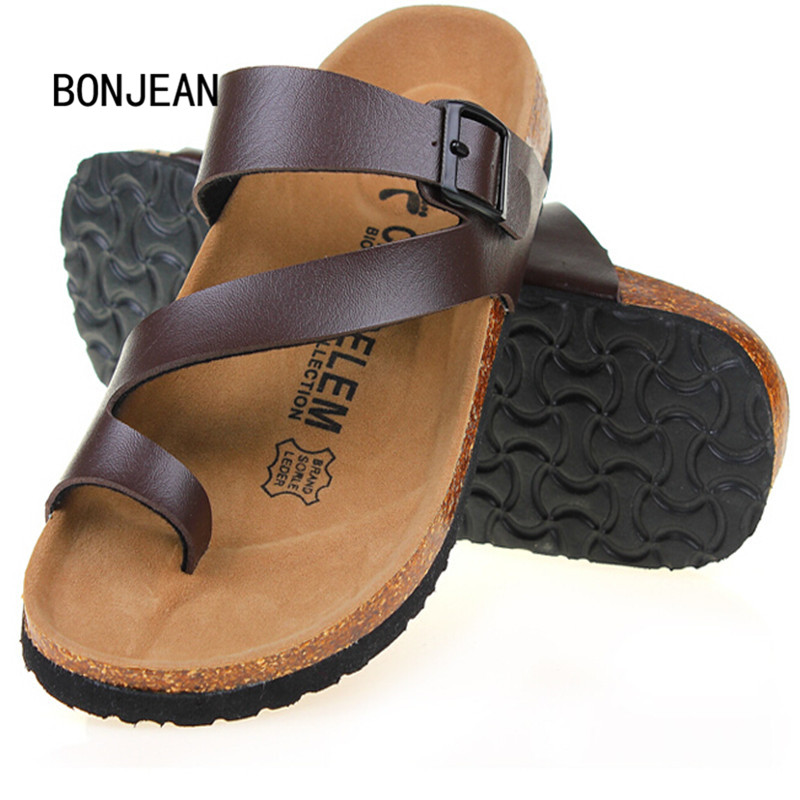 Men Sandals in Men s Shoes Slippers Summer Outdoor Casual Flats Solid Mixed Color Cork