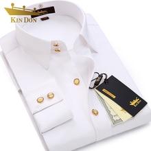 Мужская рубашка с длинными рукавами и алмазной пуговицей, мужская деловая Повседневная тонкая рубашка с медными пуговицами, Высококачественная свадебная рубашка для жениха
