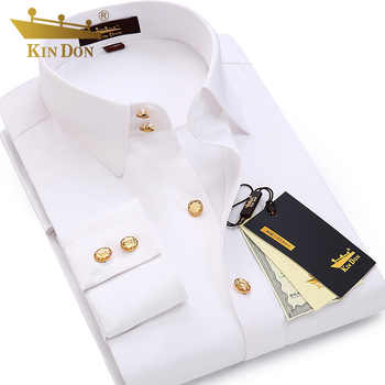 2018 Men's Diamond Button Long-sleeved Shirt Male Business Casual Slim Copper Button Dress Shirt Top Quality Groom Wedding Shirt - DISCOUNT ITEM  20% OFF All Category