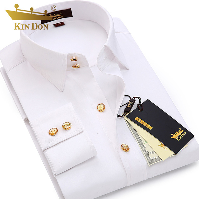 2018 camisa de manga larga con botón de diamante para hombre, de negocios, Casual, ajustada, de cobre, con botones, camisa de alta calidad para novio camisa de boda