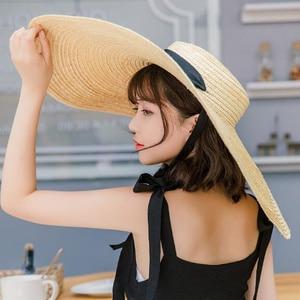 Image 2 - 2019 Women Natural Raffia Straw Hat Ribbon Tie 15cm Brim Hat Derby Beach Sun Hat Cap Summer Wide Brim UV Protect Hats Female R6