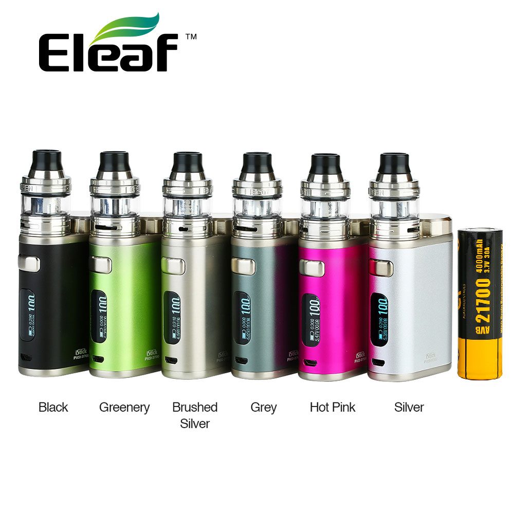 100W Eleaf IStick Pico 21700 Kit avec 4000mAh 21700 Battey & Ello atomiseur 2ml capacité e-cigarettes Eleaf IStick Pico Vape Kit