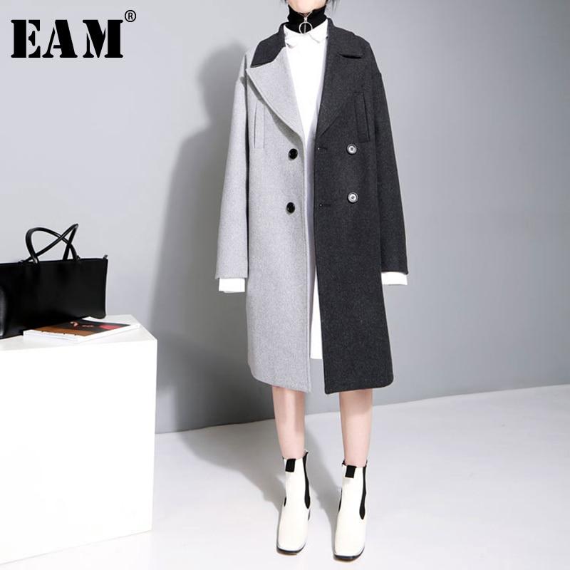 [EAM] 2018 Neue Herbst Winter Revers Lange Ärmel Einfarbig Schwarz Grau Split Joint Lose Große Größe Jacke frauen Mode JC969