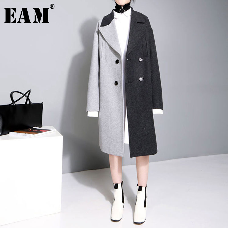 [EAM] 2018 New Autumn Winter Lapel Long Sleeve Solid Color Black Gray Split Joint Loose Big Size Jacket Women Fashion JC969