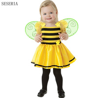 SESERIA Cosplay Bee Costume Bee Wings Tutu Dress 2 Piece Sets For Girls Stage Performance Costume