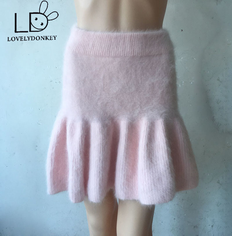 LOVELYDONKEYwoman backing skirt  Mink cashmere  Knitted skirt free shipping M683
