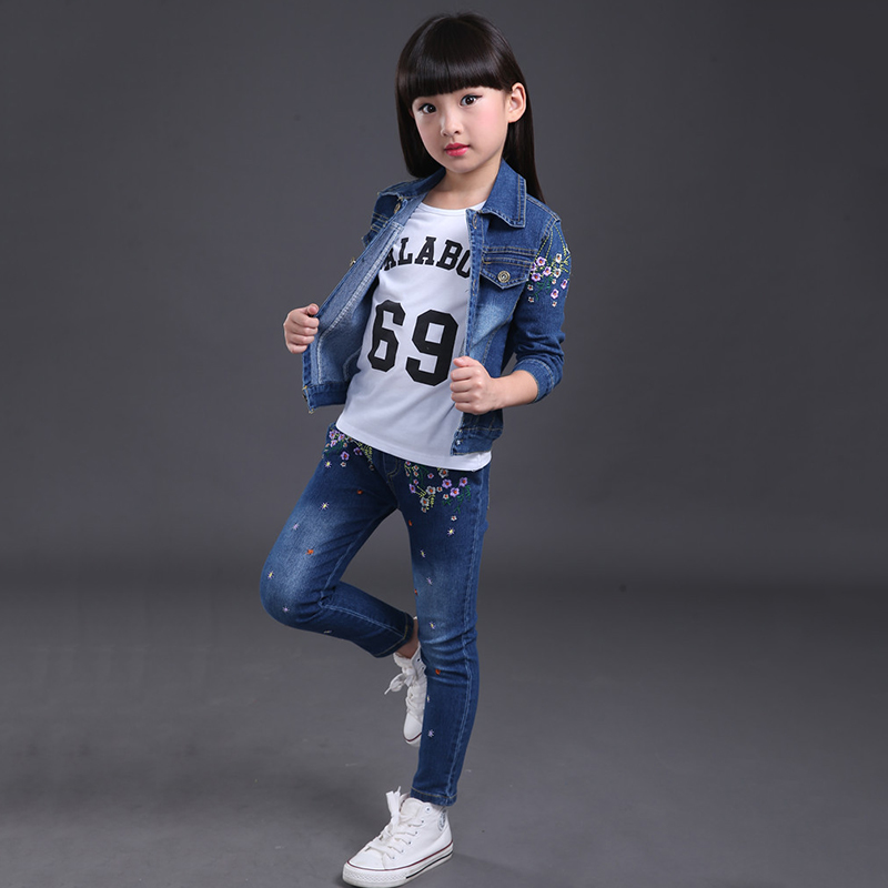 Casual Girls Clothes Coats Embroidered 2pcs Pants Suit New Year For Kids Clothes Costume Children Clothing Sets Denim Jackets children s clothing 2018 new girls spring denim clothes sets kids mesh dress suits personality suit baby child casual jackets