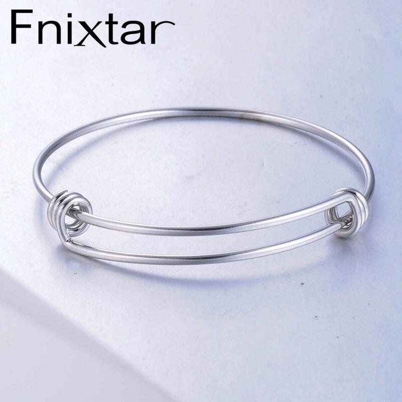 Fnixtar 1.8mm Stainless Steel Wrist Bracelet Bangle Expandable  Wire Bangle Wholesale 55mm 60mm 65mm 50piece/lot
