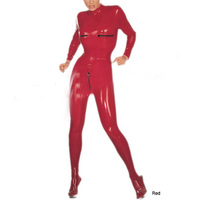 Nature Latex Tights Rubber Latex Women's Catsuit Corsetry Latex Zipped Chest Catsuit