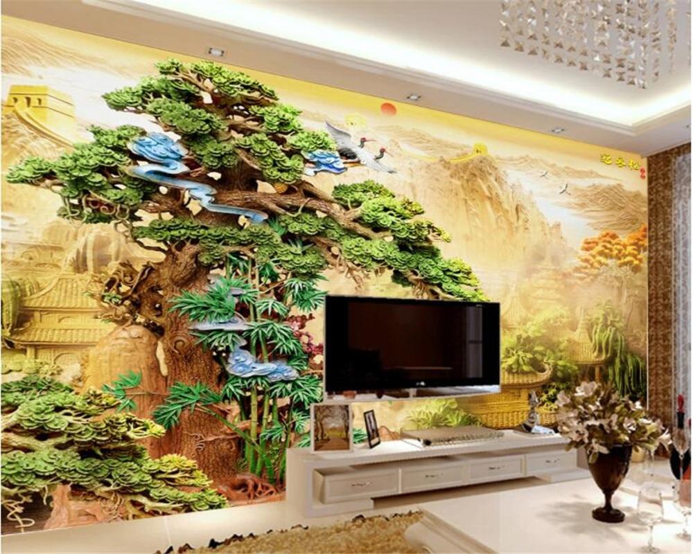 Beibehang Custom Wallpaper Fine wood carving pine Modern Palace Wall ...