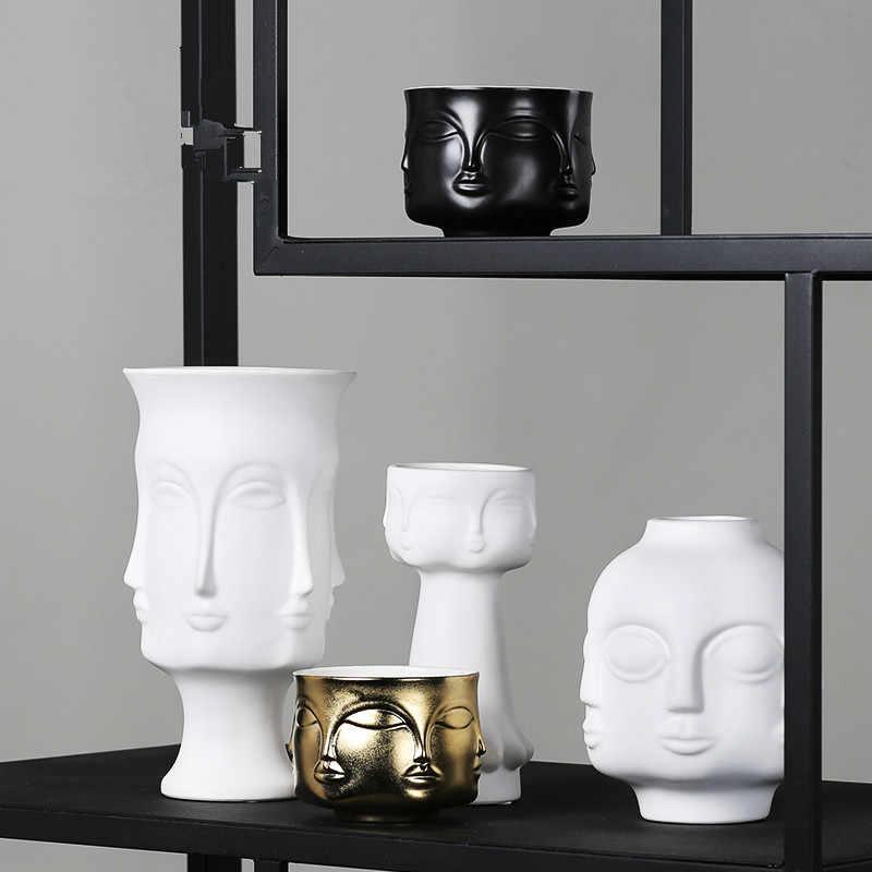 Черные и белые керамические человеческое лицо ваза горшок лица скульптура абстрактный домашний декор ремесла Цветочная композиция винтажное искусство цветочные вазы