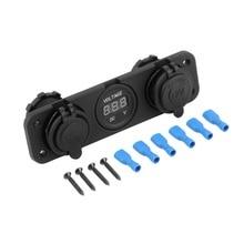 New Car Motorcycle Power Port Dual USB Adapter Charger +12V/24V Cigarette Lighter Socket + Digital Voltmeter For Phone IPod~