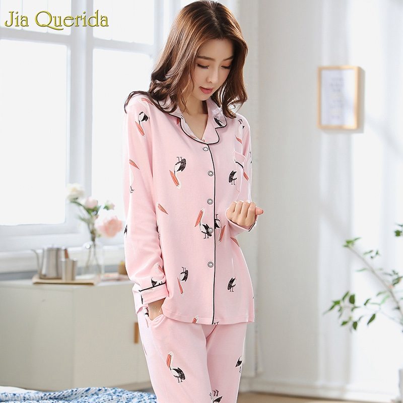 Home Clothes Pyjamas Women Lovely Pink Bird Cartoon Printing 100% Cotton Spring Autumn Long Sleeves Pants Set Sleep Suit Female
