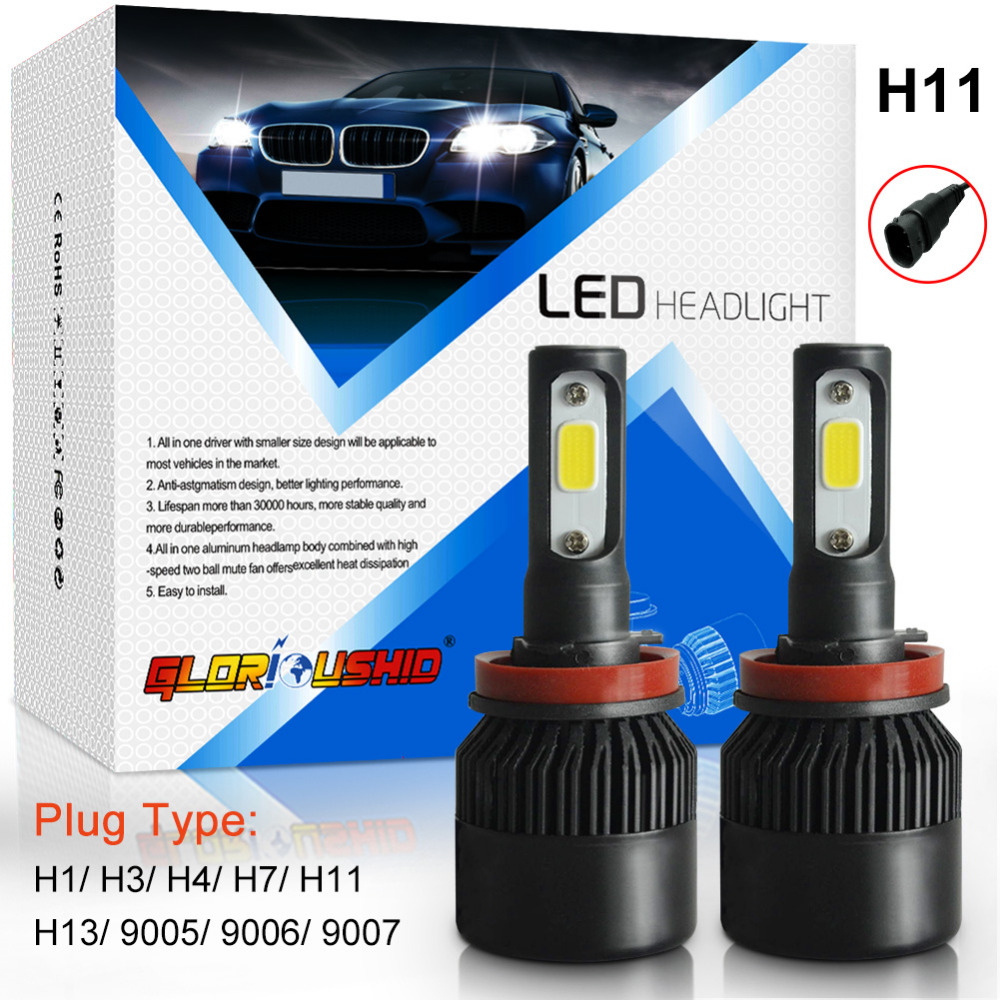 One Pair Car Light H11 H8 H9 LED Headlight COB Chip 72W 8000LM Auto Front Headlamp Fog Light Bulb 6500k White Xenon H11  geetans 80w 8000lm h7 880 h27 h8 h9 h11 hb3 hb4 led automotive headlamp cob car headlight bulb auto front fog light bulbs 6000k