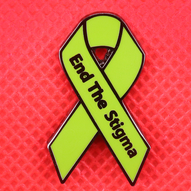 End The Stigma Enamel Pin Mental Illness Awareness Brooch Green