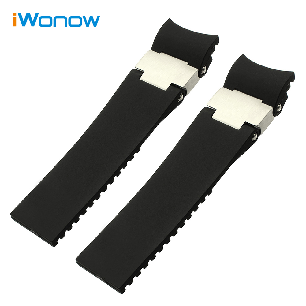 Silicone Rubber Watchband 22mm for Ulysse Nardin DIVER Men's Mechanical Watch Band Curved End Strap Steel Buckle Wrist Bracelet 20mm 22mm silicone rubber watchband for tag heuer carrera watch band curved end strap steel buckle belt wrist bracelet black