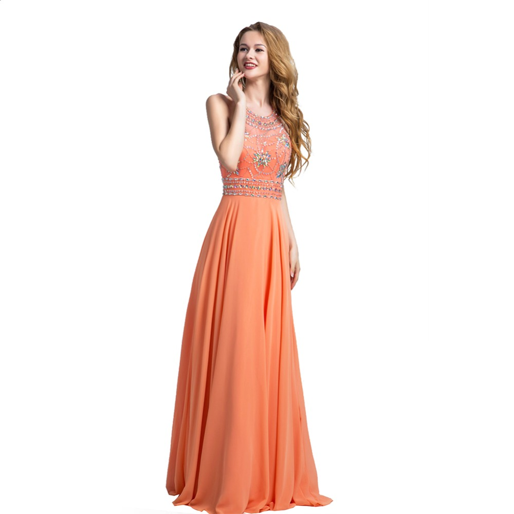 2017 latest design halter backless orange evening dress floor 2017 latest design halter backless orange evening dress floor length chiffon prom dress beaded long party gowns n032 in evening dresses from weddings ombrellifo Gallery