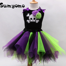2017 New Baby Girls Tutu Dress Halloween Christmas Costume Skull Carnival Clothing Baby Girl Princess Dress Girls Photo Prop