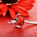 Perlas de vidrio rojo meteor charms Plata de Ley 925 Pulseras y Brazaletes para Las Mujeres Joyería GCLL010-1