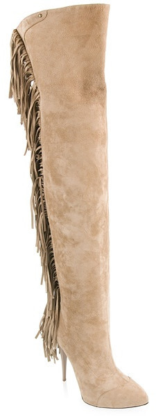 Women fashion Fringed Suede Thigh Boots in Beige New sexy long over the knee boots gladiator thigh high tassel boots