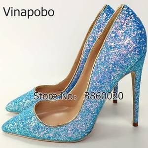 0aa2954a441a Vinapobo Blue pointed toe women lady sexy high heel shoes