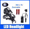 Black Headlight 2300lm 4 Modes CREE XML T6 LED Rechargeable Headlamp Waterproof Head Lamp For Biking Hunting With 18650+Chargers