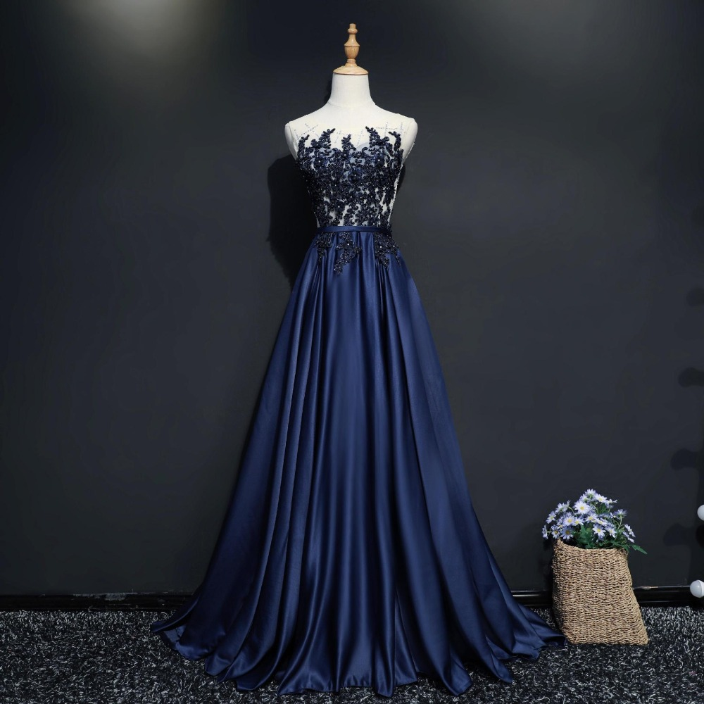 It's YiiYa Navy Blue Hot Sleeveless O-Neck   Evening   Gowns Simple Shining Crystal Beading Bow Sashes Luxury   Evening     Dress   L042