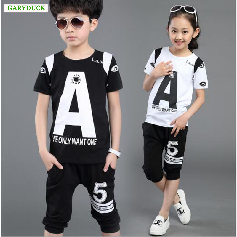 Leisure Baby Boys Girls Wear Children Clothing Set Kids Clothes Letter Print Short-sleeve T-shirt + Pants Kids Summer Sport Suit