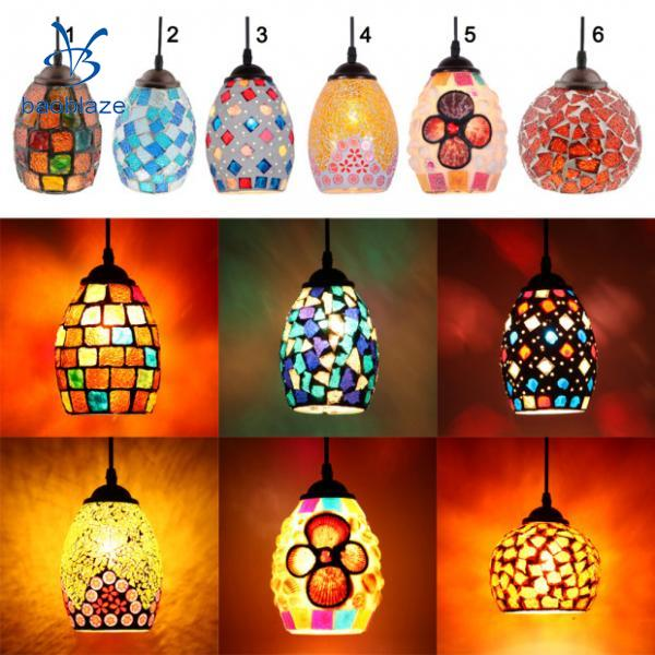 Multicolour Bar Cafe Pendant Light Retro Mosaic Style Hanging Ceiling Lamp Shade