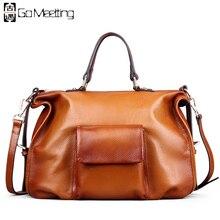 Go meetting Элитный бренд натуральная кожа женские сумки Высокое качество Теплые Женщины Сумка Винтаж Crossbody Messenger сумки