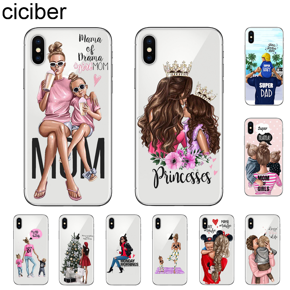 Ciciber Queen Super Mom Girls Phone Case For IPhone 7 8 6 6s Plus X XR XS MAX 5 5S SE Cover For IPhone 11 Pro Max Soft TPU Funda