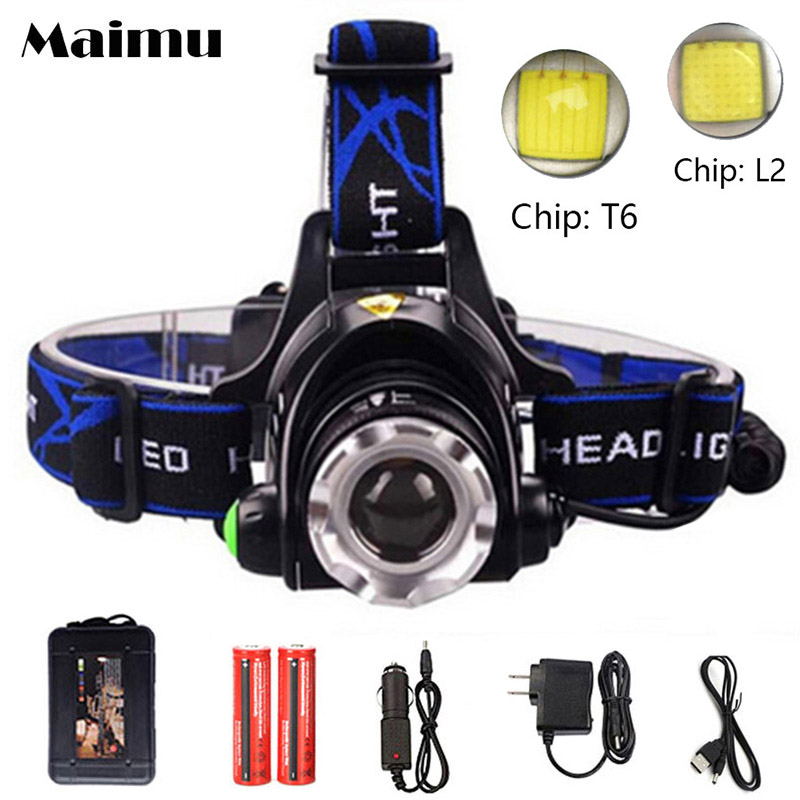 Maimu 5000 lumens led headlamp cree xml t6 xm-l2 Headlights Lantern 4 mode waterproof torch head 18650 Rechargeable Battery D12