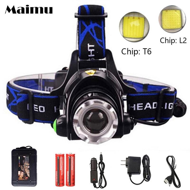 Maimu 5000 lumens led headlamp cree xml t6 xm-l2 Headlights Lantern 4 mode waterproof torch head 18650 Rechargeable Battery D12