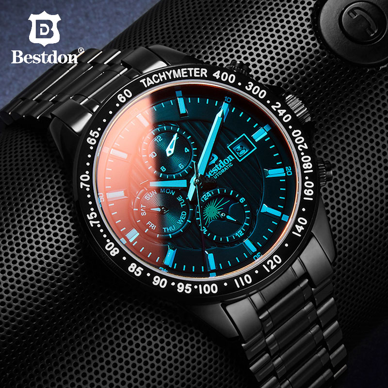 Bestdon Automatic Mechanical Men Military Watch Mens Fashion Stainless Steel Sports Watches 2019 Luxury Brand Relogio Masculino