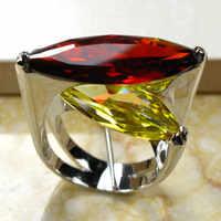 Enorme Granato Giallo Cristallo di Zircon 925 Silver Ring Size 6 7 8 9 10 R95