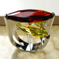 Huge Garnet Citrine 925 Sterling Silver Ring Size 6 7 8 9 10 R95