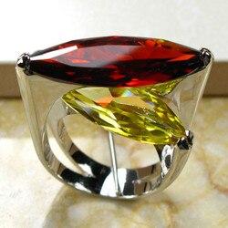 خاتم من الفضة الإسترليني 925 بكريستال أصفر عقيق ضخم مقاس 6 7 8 9 10 R95