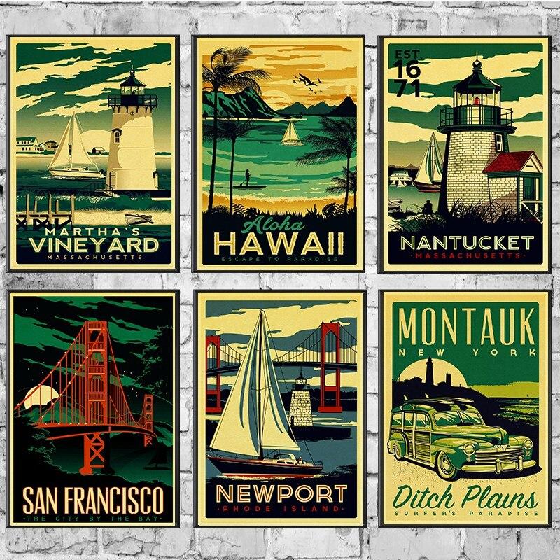 HAWAII/ARUBA/BROOKLYN/SAN FRANCISCO affiche de voyage rétro peinture bricolage mur Vintage papier affiches décoration de cadeau à la maison