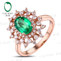 Caimao 6x8mm Oval Cut Emerald Halo Pave Diamonds 14K Rose Gold Engagement Ring Free Shipping