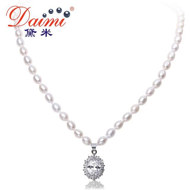 Даими 6-7 мм естественный пресноводный жемчуг и играть в хоккей хрустальные роскошные Стиль ожерелье Свадебные украшения