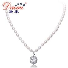 DAIMI 6-7mm Perla Natural de Agua Dulce y Cristal Brillante Colgante, Collar de Estilo de Lujo Joyería de La Boda