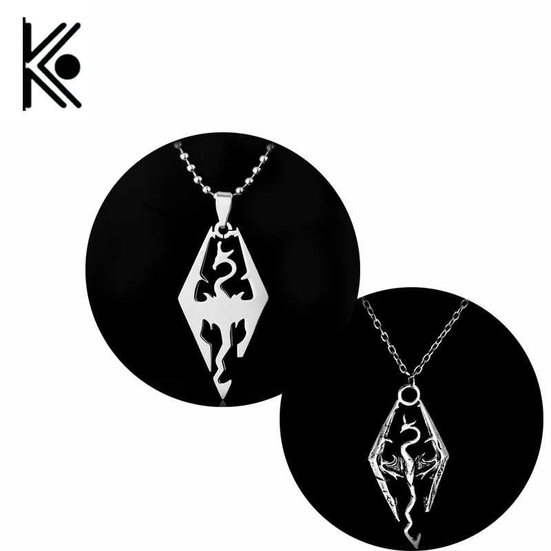 The Elder scrolls dragon pendants & necklaces personalized fashion jewelry Skyrim Dragon Pendant Necklace  high quality jewelry