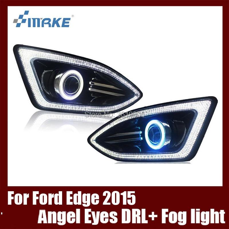 Fog Lamp Assembly LED Day Light COB Angel Eyes Foglight Daytime Running Light Lens Bumper Complete Set For Ford Edge 2015-2016 2015 new driver side lh fog light foglight lamp assembly bulb for audi a4 b9 8k0941699b